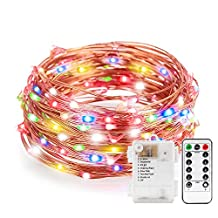 Colored Battery String Lights with Remote, Kohree Dimmable Starry Rope Lights,33Ft Flexible Copper Wire, Multi-color 100 LEDs Fairy Lights, Perfect for Weddings, Party, Bedroom, Xmas Holiday