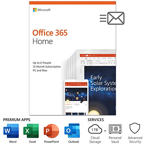 Microsoft Office 365 Home | 12-month subscription, up to 6 people, PC/Mac Key Card, English