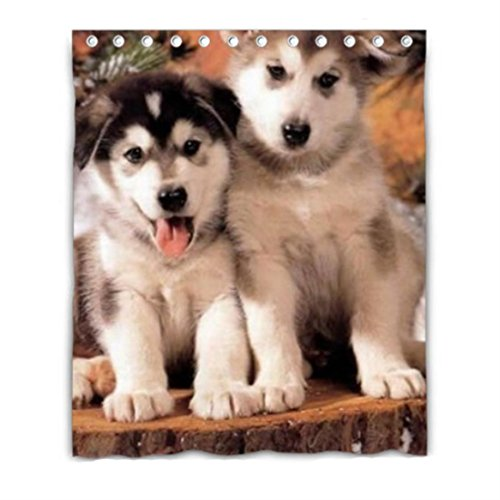 husky cute puppies Blackout Window Curtain Polyester Fabric
