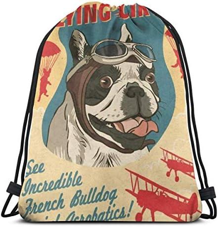 フレンチブルドッグレトロフライングサーカスドローストリングバックパックバッグスポーツジムサックパック36 x 43cm