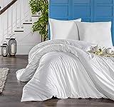 Melunda Mako Satin Bed Linen Set, White, 240 x 220 cm