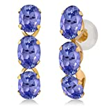 2.70 Ct Oval Blue Tanzanite 14K Yellow Gold Earrings