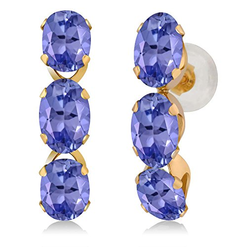 2.70 Ct Oval Blue Tanzanite 14K Yellow Gold Earrings 14k Yellow Gold Tanzanite Earrings