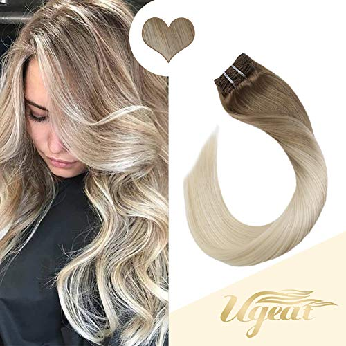 Ugeat 16inch Clip in Hair Extensions Human Hair 120g Balayage Color Medium Brown with Platinum Blonde 7PCS Full Head Clip Human Hair Extension