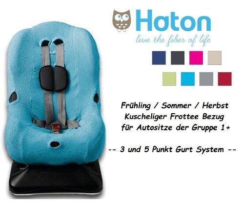HATON -- FROTTEE Ersatzbezug -- Frühling / Sommer / Herbst -- 3 UND 5 Punkt Gurt System -- Universal Ersatz-Bezug für Autokindersitz Größe 1 z.B. für Maxi-Cosi Priori / SPS / XP, Römer King Plus / TS / Duo etc. -- TÜRKIS