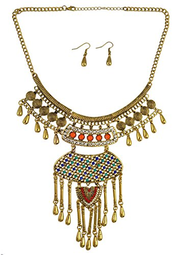 Bohemian Tibetan Silver Bronze Plated Crystal Resin Beads Tassel Statement Pendant Necklace Earring Jewelry Set for Women (Bronze Plated Resin)