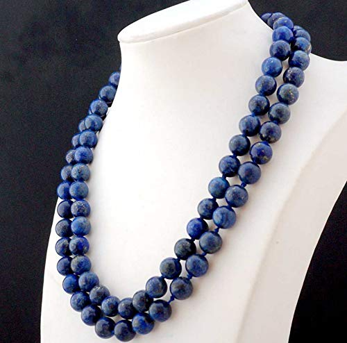 FidgetFidget Natural New 10mm Lapis Lazuli Round Gemstone Beads Necklace 36''AAA