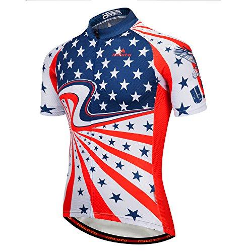Calmmood Men's Cycling Jerseys Biking Shirts Short Bike Clothing Full Zip Bicycle Jacket with Pockets
