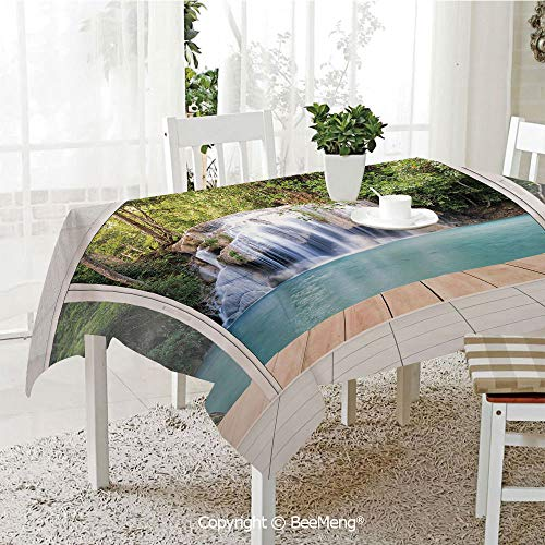 BeeMeng Large Family Picnic Tablecloth,Scenery of Waterfall with Wooden Deck Architecture Landscape Forest Modern Design,Multicolor59 x 104 inches ()