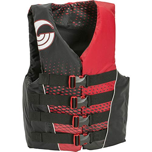 oldzon Connelly Mens Small Tunnel 4-Belt Nylon Life Vest Jacket, Red and Black with Ebook ()