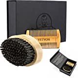 Natural Boar Bristle Beard Brush and Beard Comb Set for Stylish Men - Beard Kit Made Exclusively of Natural Materials- Elegant and Masculine Storage Box Included