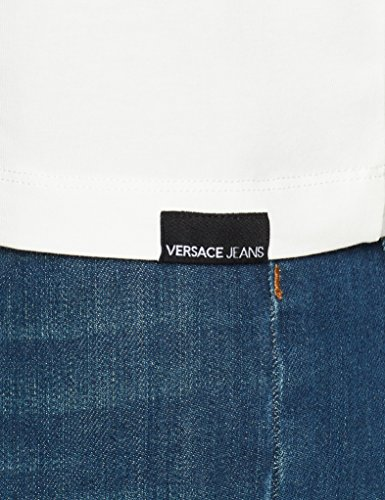 E005 Para Larga Jeans Mujer Gris ghiaccio Versace De Camiseta Manga qwIZzqXp