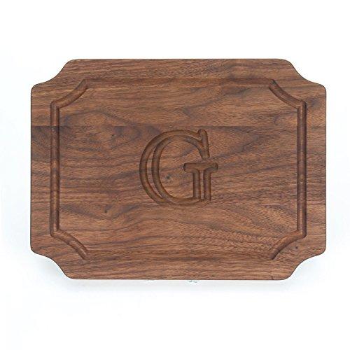 BigWood Boards W300-G Cutting Board, Monogrammed Wedding Gift Cutting Board, Small Cheese Board, Walnut Wood Serving Tray,