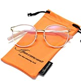 Amomoma Retro Round Women Eyeglasses Eyewear Optical Frame Clear Glasses AM5005 With Pink Frame/Gold Temple