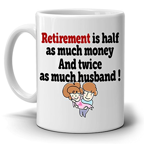 Funny Retirement Gifts Mug for Retired Couples Husband and Wife Retiree Coffee Cup, Printed on Both - Near Co And Tiffany Me Store