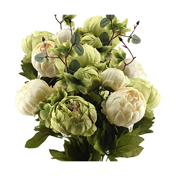 FiveSeasonStuff Vintage Artificial Peonies Silk Flowers and Hydrangeas for Wedding Bridal Home Décor – Beautiful Floral Centerpiece Arrangement with 2 Bouquets (Mixed Cream Beige and Moss Green)