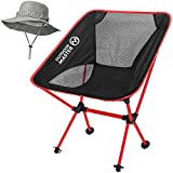 OutdoorMaster Folding Camping Chair – Portable & Compact Foldable Chair with Included FREE Bonnie Sun Hat & Carry Bag – Perfect for Hiking, Fishing, Beach & Backpacking – Red For Sale