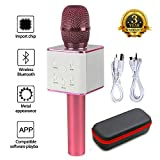 Mic 3-in-1 Bluetooth Magic Karaoke Machine Wireless Microphones Handheld Speaker For Apple iPhone Android Smartphone PC Music Playing Singing Home KTV (Q7 Pink)