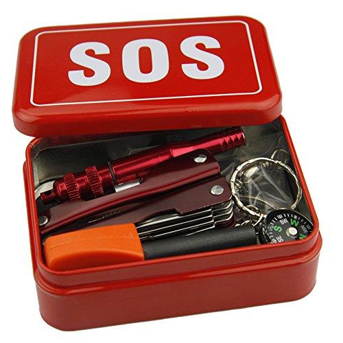 Survival Set Basic Kit Überlebens Set Notfall Tool Box Sos Set Werkzeuge Für Reisen Camping Wandern NotÜBerlebens Zubehör