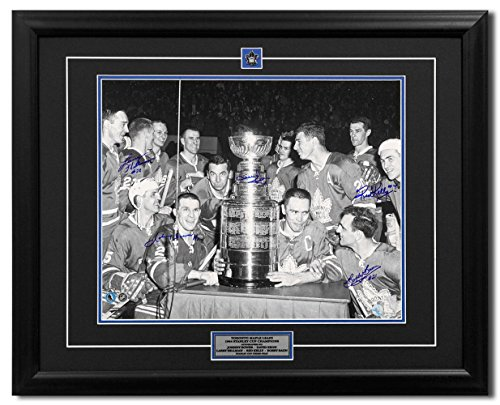 1964 Toronto Maple Leafs Stanley Cup Three-Peat 5 Player Signed 31x25 Frame - Autographed NHL Photos
