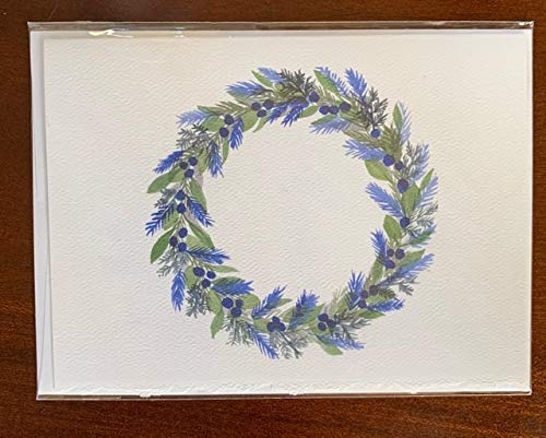 Watercolor Blue Wreath Christmas Card