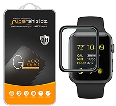 [2-Pack] Supershieldz for Apple Watch 42mm (Series 3/2/1) Tempered Glass Screen Protector, [Full Cover][3D Curved Glass] Anti-Scratch, Bubble Free, Lifetime Replacement Warranty (Black)
