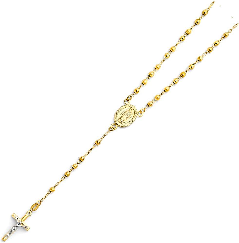 Sonia Jewels 14k ホワイトとイエロー ツートーン ゴールド 3mm ミラーボールビーズ グアダルーペの聖母マリア ロザリオチェーンネックレス 18インチ