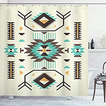 Ambesonne Southwestern Shower Curtain, Ethnic Illustration of a Zigzags Design Triangular Iconic Artwork Motifs, Cloth Fabric Bathroom Decor Set with Hooks, 70