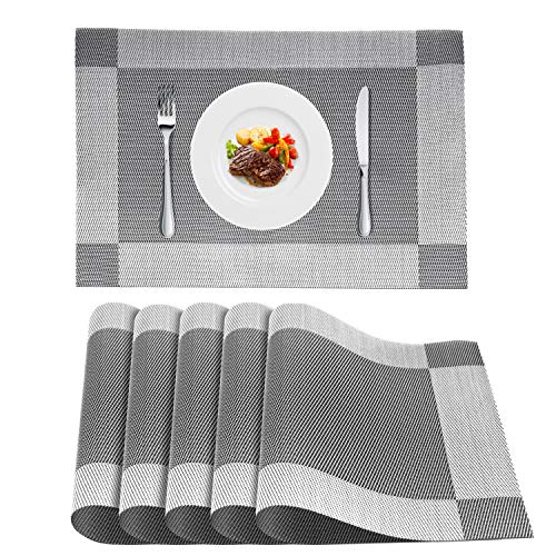 - WLIFE Placemats, Heat-Resistant Placemats, Stain Resistant Washable PVC Table Mats, Cross Weave Non-Slip Vinyl Table Mats 18