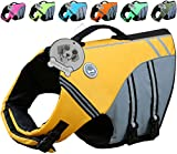 (US) Vivaglory New Sports Style Ripstop Dog Life Jacket with Superior Buoyancy & Rescue Handle, Yellow, M
