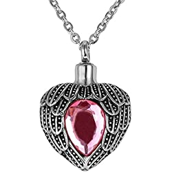 Valyria Memorial Jewelry Angel Wing Birthstone Necklace Urn Keepsake Cremation Ashes Pendant,Pink