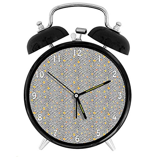 (Happy-zhjX Retro Style Twin Bell Alarm Clock with Nightlight,4in,White Number Decoration-Abstract Leopard Cheetah Skin Exotic Wild Cat Pattern Spotty,for Home/Office)