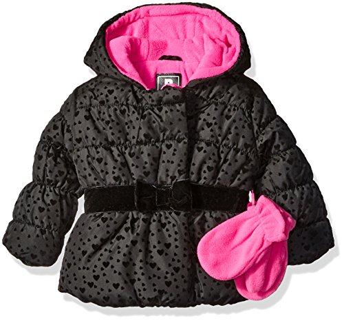 Rothschild Baby Girls' Infant Flocked Jacket with Mittens, Black, 12 Months