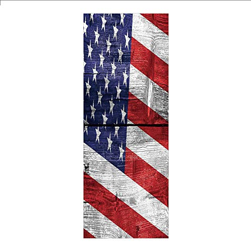 - 3D Decorative Film Privacy Window Film No Glue,Rustic American USA Flag,July Independence Day Commonwealth Country Emblem Patriotism Wooden Plank Looking,for Home&Office
