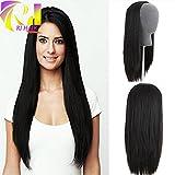 RJ Hair Brazilian Straight Human Hair Half Wig Glueless Virgin Hair 3/4 None Lace Wig (18inch)