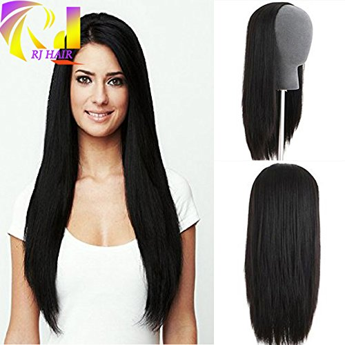 RJ Hair Brazilian Straight Human Hair Half Wig Glueless Virgin Hair 3/4 None Lace Wig (18inch) by RJ HAIR