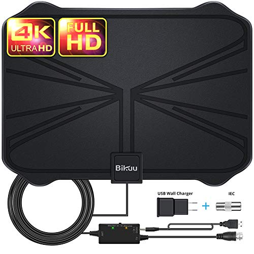 [Latest 2020] Indoor Amplified HD Digital TV Antenna up to 130 Miles Range - HDTV Antenna with Powerful Signal Booster,Support 4K 1080P UHF VHF Freeview HDTV Channels for All Indoor TVs