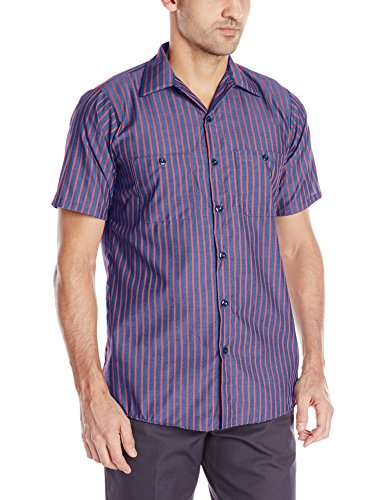 Red Kap Men's Striped Industrial Work Shirt with Pencil Stall, Regular Fit, Short Sleeve, Navy/Red Stripe, ()