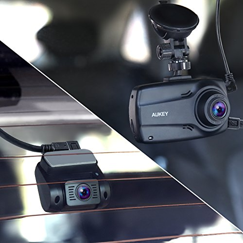 """AUKEY 1080p Dual Dash Cams with 2.7"""" Screen, Full HD Front and Rear Camera, 6-Lane 170° Wide-Angle Lens, G-Sensor, and Dual-Port Car Charger by AUKEY (Image #6)"""