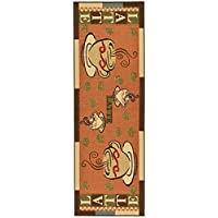 Ottomanson Saras Kitchen Coffee Cups Design Mat Runner Rug with Non-Skid (Non-Slip) Rubber Backing, 20 x 59, Dark Orange