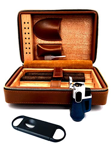- Fess Products Travel 4 Cigar Humidor, Spanish Cedar Wood Cigar Case, Portable Cigar Box with Humidifier, Cigar Cutter, Gift Box Comes with Pouch