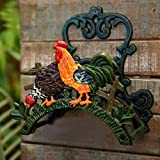 Sungmor Heavy Duty Cast Iron Hose Holder,Garden & Yard Decorative Cocks Wall Mounted Hose Butler,Water Pipe Holds,Rack,Hanger,Antique Wall Decorations