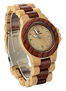 Ideashop® Handmade Brown and Beige Date Calendar Sandal Wood Quartz Watch Maple Wood & Red Natural Sandalwood Wood Watches Wooden Wristwatch Japan Movt Men's Watches Gift Giving Watch