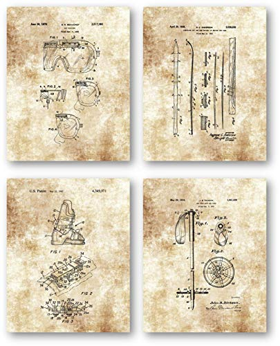 Original Skiing Patent Art Drawings- Set of 4 8 x 10 Unframed Prints - Great Gift for Downhill Skiers and Snow Lovers - Beautiful Decor for Mancaves, Mountain Homes, Ski Cabins or Lodges