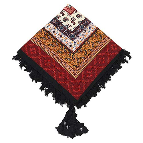 Kingree 100% Cotton Muffler, Warm Scarf with Tassel, Russian Style Large Bandana, Wrap Shawl Stole With Fringes (JF12)