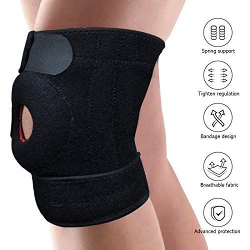 Leypin Knee Brace Support Sleeve for Arthritis,ACL, LCL, MCL,Meniscus Tear,Sports Exercise,Running,Basketball - Adjustable Open Patella Stabilizer by Leypin