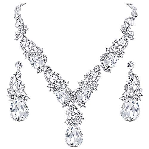 BriLove Wedding Bridal Necklace Earrings Jewelry Set for Women Multi Teardrop Cluster Crystal Statement Necklace Dangle Earrings Set Clear Silver-Tone