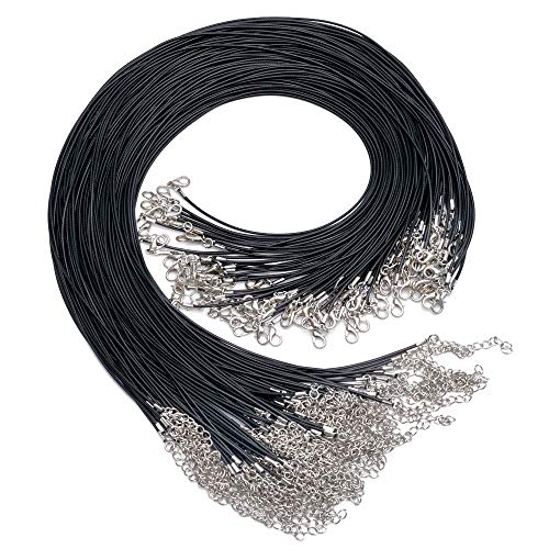 "GENGMEI 120Pcs 20"" Necklace Cord with Clasp for Bracelet Necklaces and Jewelry Making Accessories .1.5 mm Thickness,Black Bulk"