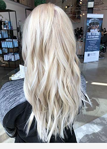 Moresoo 22 Inch Clip on Hair Extensions Double Weft Hair Color Platinum Blonde Remy Human Hair Extensions Clip in 6 Pieces 50 Gram Clip in Hair Extensions Straight ()