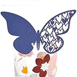 50pcs Table Mark Wine Glass Butterfly Name Place Cards Decoration Wedding Party Favor (Blue)